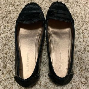 BCBGeneration Black Calf Hair/Patent Loafers